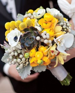 Adding yellow Billy Balls to your bouquet makes it look fun and artistic.